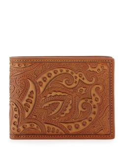 Brown imprinted leather wallet