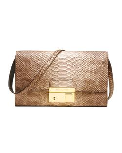 Leather clutch bag with python print