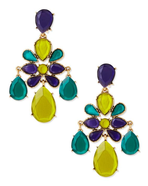 Colored voluminous earrings with stones