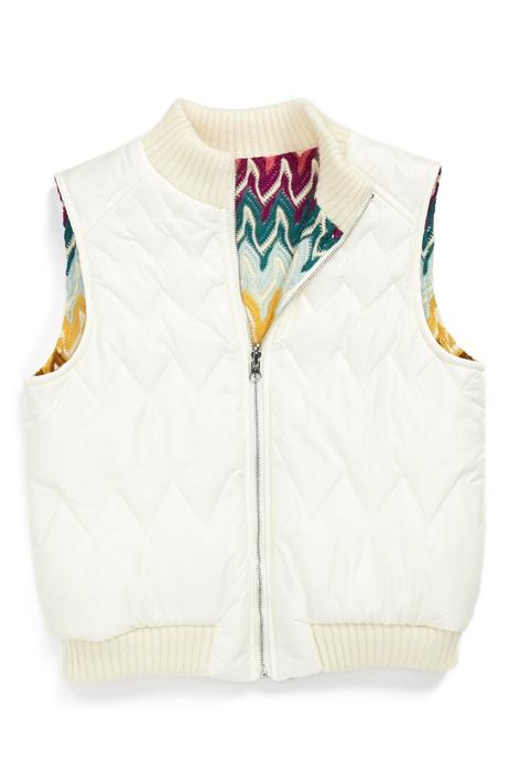 Reversible quilted vest with zipper