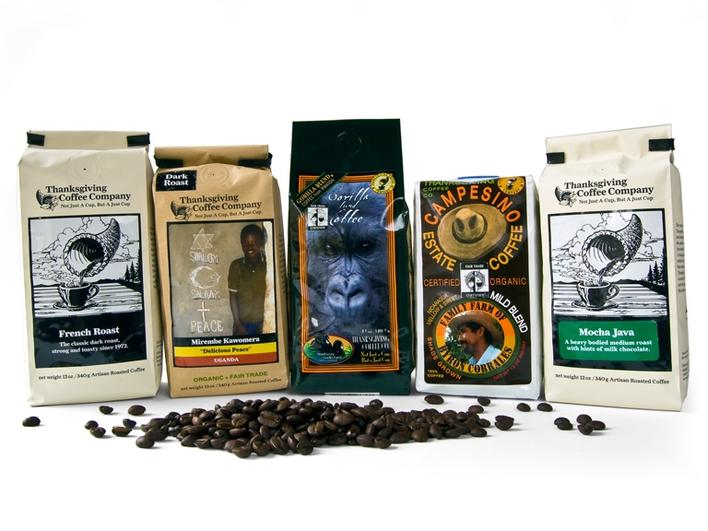 Roasted coffee in beans, set of 5